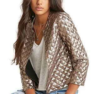 Quilted Metallic Rose Gold Cropped Jacket